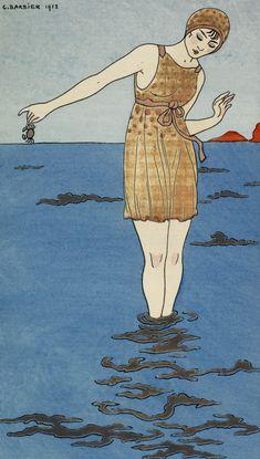 Costume de bain. Woman wearing a bathing costume. Journal des dames et des modes, 1912-14. Artist: George Barbier