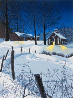 """Artist William Hays Eight-color linocut print of Vermont farmhouse and barn in the moonlight, entitled """"Midnight Clear"""" Nocturne, Artist Loft, Snow Scenes, Linocut Prints, Print Artist, Woodblock Print, Vermont, Illustration Art, Art Illustrations"""
