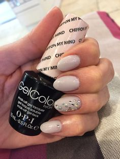 OPI Chiffon My Mind gel polish mani on oval nails with opalescent crystals!