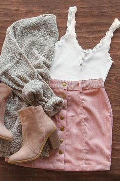 Sara Snap Front Corduroy Skirt - Blush - You are in the right place about e girl outfits Here we offer you the most beautiful pictures abou - Teenage Outfits, Teen Fashion Outfits, Cute Fashion, Look Fashion, Girl Outfits, Teen Fall Outfits, Preteen Fashion, Fashion Skirts, Grunge Outfits