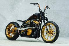 Modified Harley-Davidson by Roland Sands Design. Bobber Bikes, Bobber Motorcycle, Cool Motorcycles, Girl Motorcycle, Motorcycle Quotes, Triumph Motorcycles, Custom Bobber, Custom Harleys, Custom Bikes