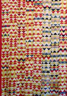 Antique Handmade Abstract Zig Zag Quilt Red Yellow Calico Triple Border | eBay