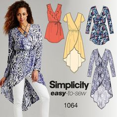 This versatile, easy-to-sew faux wrap tunic top pairs well with leggings for an easy on-trend look. Make it with a long sleeve, short sleeve or sleeveless with a front flounce. Sew your style with Simplicity pattern 1064.:
