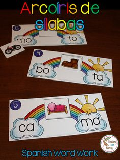Spanish word work: This idea is perfect for students that are beginning to read and combine 2 Spanish syllables into words. Learning Spanish For Kids, Spanish Teaching Resources, Spanish Activities, Spanish Language Learning, Preschool Activities, Vocabulary Activities, Learning Italian, Preschool Worksheets, Bilingual Kindergarten