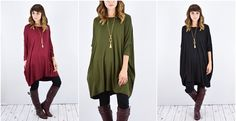 Slouch Side Pocket Dolman Tunic | S to XL