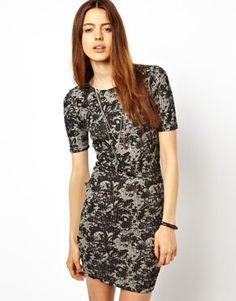 Image 1 of ASOS Body-Conscious Dress In Rib With Blurred Floral Print
