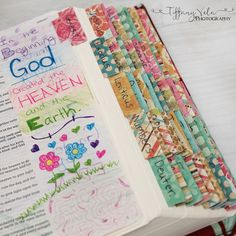 I made Custom tabs with scrapbooking paper for my journaling bible! It's so pretty and colorful!