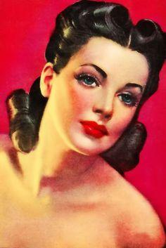 """""""Sue"""" ~ Zoe Mozert, ca. Vintage Pins, Vintage Photos, Vintage Ladies, Pin Up Illustration, Illustration Artists, Colorado Springs, 1940s Makeup, Pinup, Earl Moran"""