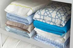 store folded bed sheets inside one of the matching pillowcases
