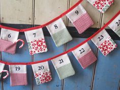 Christmas Advent Bunting. Colours  Red Cream by buntingboutique, £45.00
