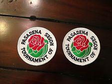 2 Vintage Souvenir Travel Patch lot Tournament of Roses Parade Rose Bowl Patches