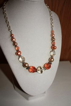 Peaches and Cream Czech Glass Beads by ChelestersCreations on Etsy