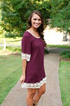 I must have this!! Perfect color for fall. :)  The Pink Lily Boutique - Plum Lace Dress, $38.00 (http://www.thepinklilyboutique.com/plum-lace-dress/)