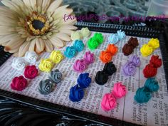 5 pair - Handmade Polymer Clay Rose Earrings
