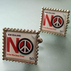 'No Nukes' Nuclear Free NZ Cufflinks