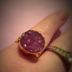 Purple Druzy Ring Pretty gold dipped natural druzy stone. The stone is natural so the size and shape and color may vary slightly. Metal is lead and nickel free. New without tag. Adjustable Jewelry Rings