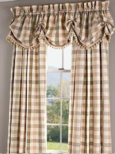 Elegant Plaid Curtains, Elegant Plaid Curtain - Country Curtains® - Another! Plaid Curtains, No Sew Curtains, Country Curtains, Rod Pocket Curtains, Wall Curtains, Curtains Living, Kitchen Curtains, Primitive Bathrooms, Primitive Kitchen