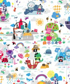 Sainsburys 'Travel Buddies' surface pattern design illustrated by biroRobot