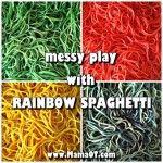 Messy play with rainbow spaghetti!