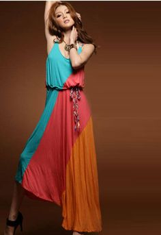 Bohemian Assorted Colors Spaghetti Strap Maxi Dress with Belt