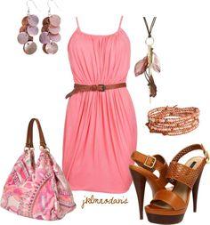 """Mother of Pearl Pink & Brown"" by jklmnodavis on Polyvore"