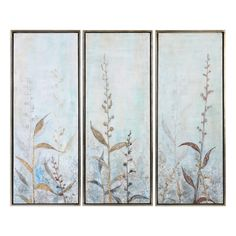 Uttermost Shining Florals Framed Art S/3