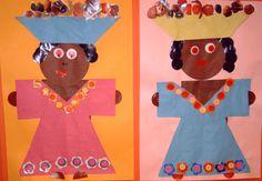 Afrikaanse vrouw met fruitmand; knippen en plakken