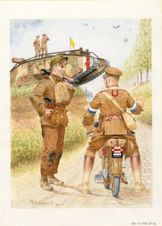"British; A Mark IV male tank of the 7th Battalion, Tank Corps has broken down. A corporal of the 7th Tanks converses with a ""Don R"" of the divisional signals company, Royal Engineers, 25th Division."