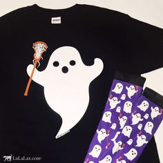 The perfect pair! This girls lacrosse ghost tee and pair of printed girls lacrosse ghost socks together make the perfect Halloween costume to wear at lacrosse practice or go trick or treating in! Only at LuLaLax.com!