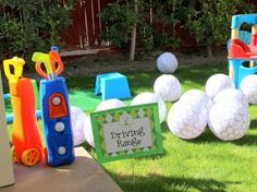 """Golf birthday party """"Driving Range."""" Kids hit huge blow-up golf balls. Fun and safe!"""