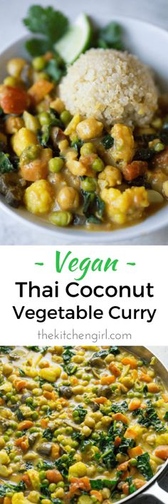 Easy vegan Thai comfort food in 30?…yes plz! Veggies, curry paste, and coconut milk. Vegan Thai Coconut Vegetable Curry thekitchengirl.com #vegan #curry #Asiancurry #thaicurry #thaicoconut #skilletmeal #glutenfree