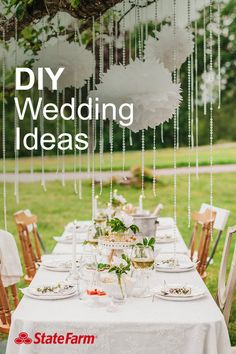 "Get money-saving wedding ideas to maximize budgets without looking cheap! Like a good neighbor, State Farm is there to lend a hand with DIY tips and tricks. Check out this list of unique craft ideas, like ""clothesline and tags"" place cards."