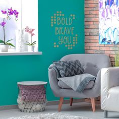Pack a fancy little punch in your home décor in minutes. Go ahead – add a bold, fun statement to a space in need of a little boost. Removable Wall Decals, Brave, Accent Chairs, Fancy, Paper, Gold, Furniture, Home Decor, Upholstered Chairs
