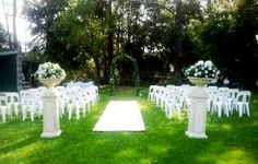 An example of our Garden Wedding Ceremony Set-up.. 6mtr Cream or Red Carpet Aisle Runner available with our Garden Wedding Ceremonies, the choice is yours. - M & M's Weddings, Parties & Events Hire, Party & Event Planning, Cooranbong, NSW, 2265 - TrueLocal