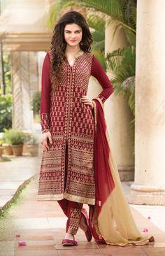 Maroon wedding wear salwar kameez in georgette D15133