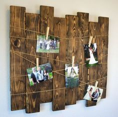Rustic Wood Slat Picture Display Rustic Wedding Seating Chart Rustic Home Decor Valentine's Day Gift Memo Board Gallery Wall Wedding Picture Walls, Wedding Wall, Diy Picture Frames On The Wall, Deco Noel Nature, Exposition Photo, Christmas Collage, Christmas Cards, Diy Décoration, Photo Displays