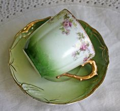 Limoges Chocolate Cup and Saucer. Antique Hand Painted