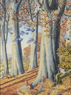 C F Tunnicliffe - Autumn Wood British Wildlife, Wildlife Art, Ladybird Books, Autumn Painting, Cool Landscapes, Children's Book Illustration, Bird Art, Art Techniques, Landscape Art