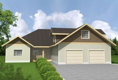 Home Plan: 001-2149  View Plan Here:  Starting at $825, this single-story two bedroom, two bathroom home features a two car garage with a bonus room, a large full kitchen and a luxurious master suite with a large walk in cl