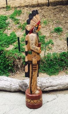 Gallagher 4/' Cigar Store Indian OLD WEST COWBOY TEX Hand Carved Sculpture GREEN