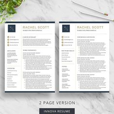 2 Page Resume Format Modern Resume Template For Word  Clean Resume Design  2 Page