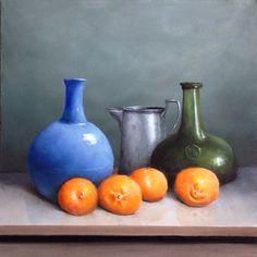 Original Still Life Oil Painting of Oranges and Vases // Food Art // by CraftsByMandi, $250.00