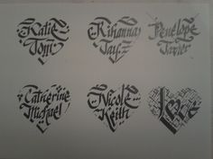 #valentine #valentinesday #lovers #calligraphy #logo #ottoman #create Heart shape letter designs.