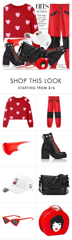 """Hearts Pattern Valentine Sweatshirt"" by amalyalana ❤ liked on Polyvore featuring Gucci and Tatty Devine"