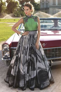 Show details for Flamboyant green and grey color anarkali suit