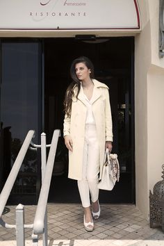 The perfect outfit for a bright spring day! Yellow trench coat, ivory blouse in white silk jacquard and white cotton satin trousers (available as limited edition, link in bio) Model: Michela Maradati Photographer: Carlotta Broglio Satin Trousers, White Trousers, Yellow Trench Coat, Bright Spring, Spring Summer, White Silk, Classy Women, Resort Wear, Summer Collection