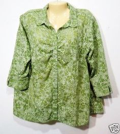 Fashion-Bug-Womens-Blouse-Sz-18-20-Green-Floral-Glitter-Button-Front-3-4-Sleeve