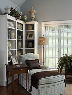 Bookcases for corner of dining room. Open and cuter than a butlers pantry. Love chair room
