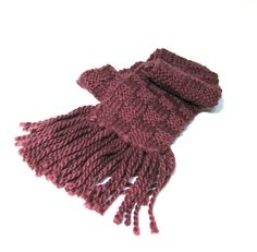 Basketweave Hand Knit Scarf  Purple Eggplant by ArlenesBoutique, $55.00