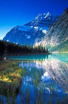 Cavell Lake and Mount Edith Cavell on a beautiful fall morning in Jasper National Park, Alberta, Canada Beautiful World, Beautiful Places, Beautiful Pictures, Beautiful Scenery, Beautiful Beautiful, Absolutely Stunning, Amazing Places, All Nature, Amazing Nature